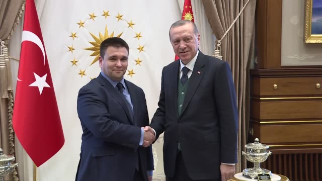 turkishpresident recep tayyip erdogan receives ukrainian foreign minister pavlo klimkin at presidential complex in ankara turkey on march 30 2018 - minister president stock videos and b-roll footage