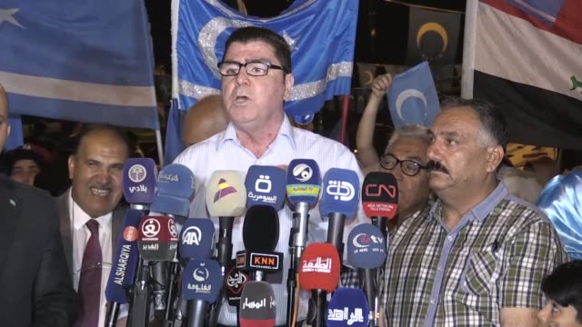 turkmen in iraq's northern city of kirkuk have continued to stage demonstrations against the results of the country's may 12 parliamentary polls each... - muqtada al sadr stock videos & royalty-free footage