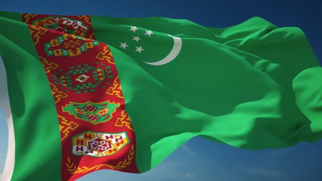 turkmenistan flagge - endlos wiederholbar - fahnenstange stock-videos und b-roll-filmmaterial