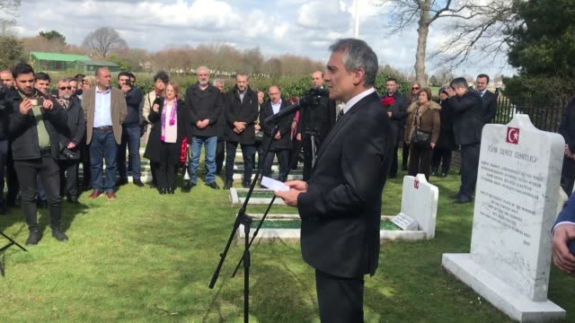turks living in the uk visit the southern coastal town of gosport to commemorate turkey's fallen soldiers on the martyrs' day on march 18 2019 more... - gosport stock videos & royalty-free footage
