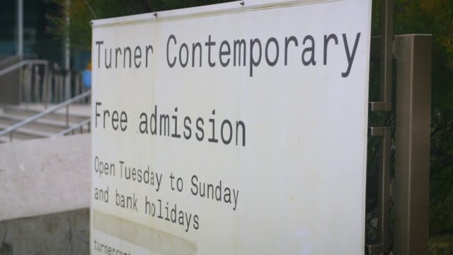 turner contemporary entrance sign, margate - entrance sign stock videos & royalty-free footage
