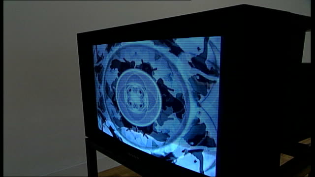 mark titchner and phil collins interviews close up of television monitor as part of installation - phil collins stock videos & royalty-free footage