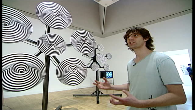 mark titchner and phil collins interviews titchner stood next to his installation 'ergot ergot 2006' during interview sot an optical piece influenced... - phil collins stock videos & royalty-free footage