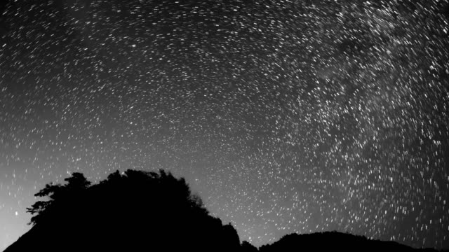 turning around north stars meteor shower 4k dci - black and white stock videos & royalty-free footage