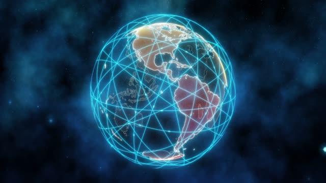 holographischer globus mit verbindungspunkten drehen - connection in process stock-videos und b-roll-filmmaterial