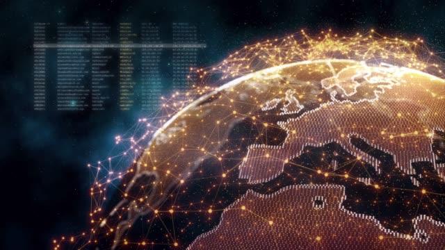 holographischer globus mit verbindungspunkten drehen - morphing stock-videos und b-roll-filmmaterial