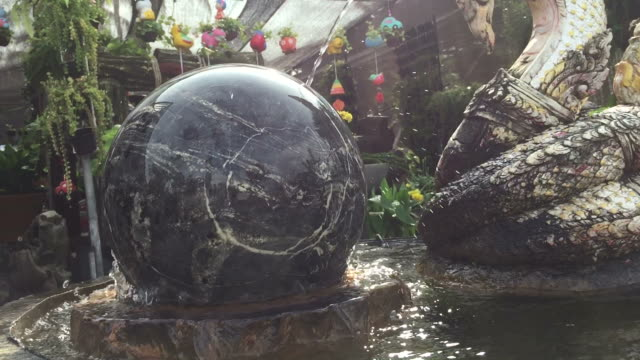 Turning marble stone sphere on Water
