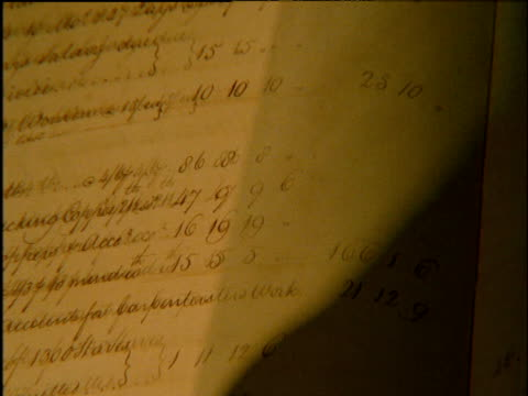 turning pages of 18th century hand-written accounts book - old book stock videos and b-roll footage