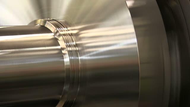 cu turning plant at steel factory / remscheid, north rhine westphalia, germany   - metall stock-videos und b-roll-filmmaterial