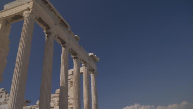 turning shot showing the erechtheion, the acropolis, unesco world heritage site, athens, greece, europe - the erechtheion stock videos & royalty-free footage