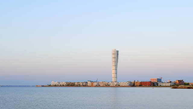 turning torso western harbour malmo sweden - tower stock videos & royalty-free footage