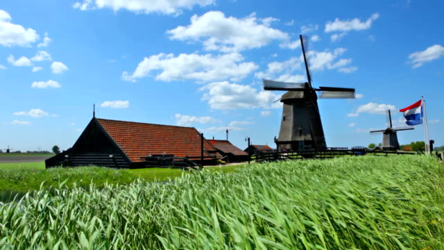 turning traditional windmill on a sunny day, schermerhorn, the netherlands - mill stock videos & royalty-free footage