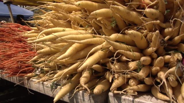 stockvideo's en b-roll-footage met cu, tu, turnips at farmers market, new york city, new york, usa - crucifers