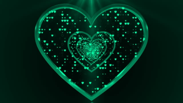 Turquoise Abstract Looped Heart Shapes Background