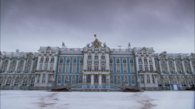 turquoise blue accents the ornate walls of catherine palace in st. petersburg. - russia stock videos and b-roll footage