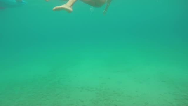 vídeos de stock e filmes b-roll de turquoise colored ionian sea - flutuar na água