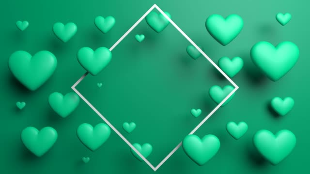 turquoise elegant looped hearts with frame - poster template stock videos and b-roll footage