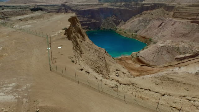 Turquoise lake at the bottom of quarry