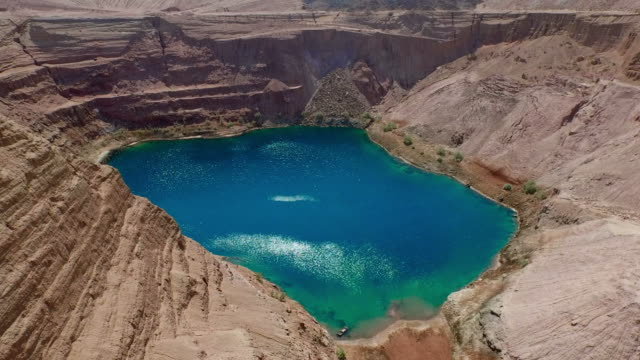 Turquoise lake in rocky basin