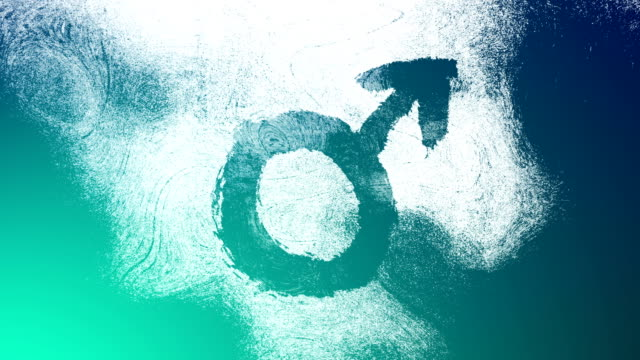 turquoise mars, male, gender symbol on a high contrasted grungy and dirty, animated, distressed and smudged 4k video background with swirls and frame by frame motion feel with street style for the concepts of gender equality, women-social issues - gender symbol stock videos & royalty-free footage