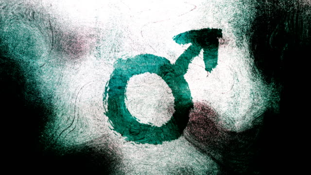 turquoise mars, male, gender symbol on a high contrasted grungy and dirty, animated, distressed and smudged 4k video background with swirls and frame by frame motion feel with street style for the concepts of gender equality, women-social issues - gender symbol stock videos and b-roll footage
