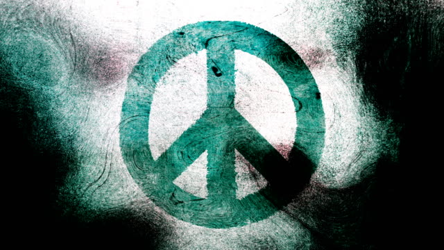 Turquoise peace symbol on a high contrasted grungy and dirty, animated, distressed and smudged 4k video background with swirls and frame by frame motion feel with street style for the concepts of peace, world peace, no war, protest, and tranquility