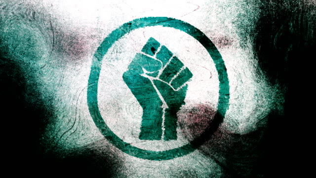 Turquoise raised fist symbol on high contrasted grungy and dirty, animated, distressed and smudged 4k video background with swirls and frame by frame motion feel with street style for the concepts of solidarity,support,human rights,worker rights,strength