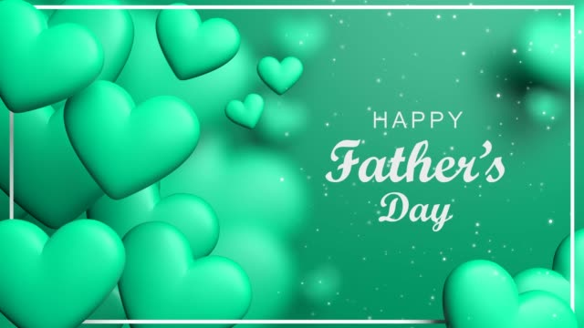 turquoise shiny happy father's day heart concept - father's day stock videos & royalty-free footage