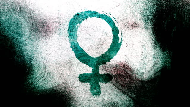 Turquoise Venus, female, gender symbol on a high contrasted grungy and dirty, animated, distressed and smudged 4k video background with swirls and frame by frame motion feel with street style for the concepts of gender equality, women-social issues