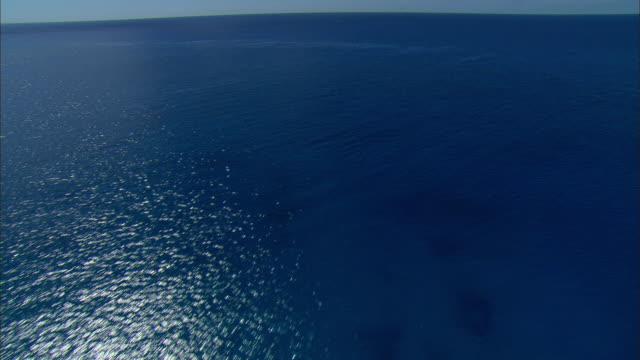 AERIAL Turquoise water near Bimini, Bahamas