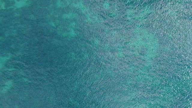 turquoise water of the sea seen directly from above. aerial view of the motion of the waves bathing the sand bottom of the ocean. - cruise collection stock videos & royalty-free footage