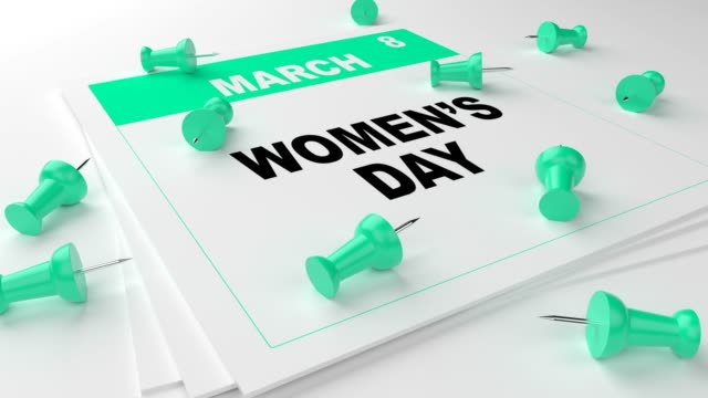 turquoise women's day calendar with turquoise pins on white background - poster design stock videos and b-roll footage