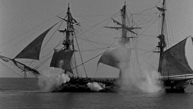 turrets fire from the uss constitution during the battle of tripoli harbor. - warship stock videos & royalty-free footage