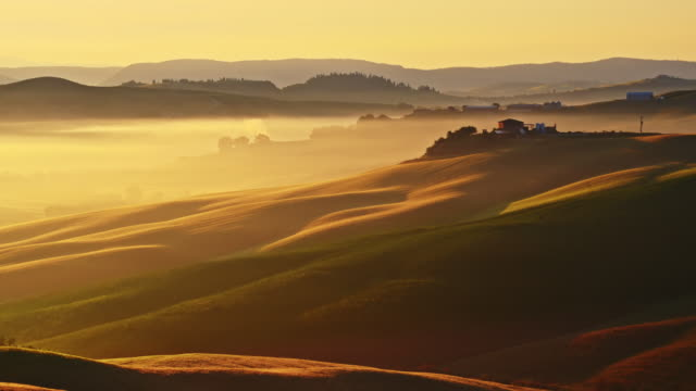 tuscan countryside in mist - tuscany stock videos & royalty-free footage