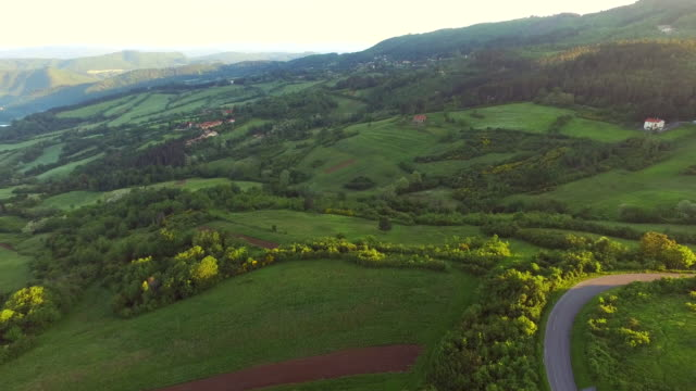 Tuscany by air early in the morning