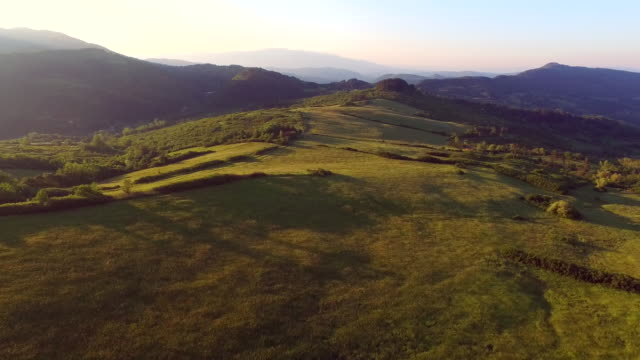 tuscany by air early in the morning - hill video stock e b–roll