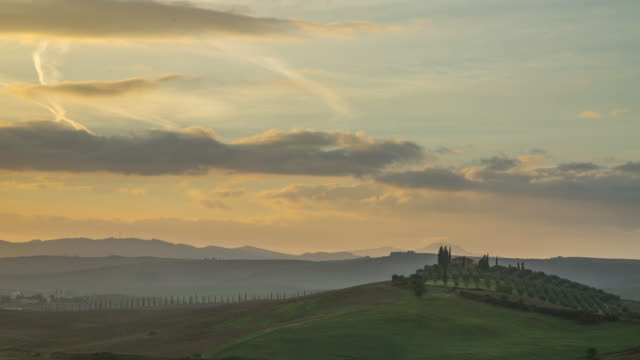 tuscany italy landscape agriculture in the morning - viticoltura video stock e b–roll
