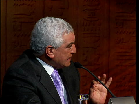 tutankhamun exhibition at the o2 arena; hawass press conference sot - exhibition stock videos & royalty-free footage