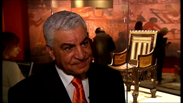 tutankhamun exhibition at the o2 centre; dr zahi hawass interview sot - talks of how much money show has generated - exhibition stock videos & royalty-free footage
