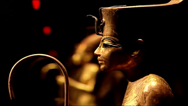 tutankhamun exhibition at the o2 centre england london o2 centre int various of artefacts on display at the 'tutankhamun and the golden age of the... - dagger stock videos & royalty-free footage
