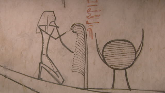 tuthmosis iii tomb. detail view of painting of the pharaoh in boat and hieroglyphic text of the afterlife from the book of amduat. - pharaoh stock videos & royalty-free footage