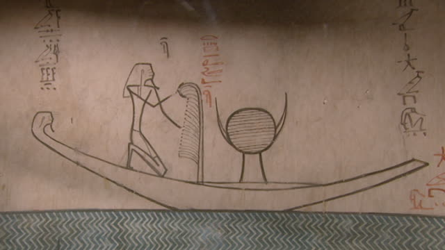 tuthmosis iii tomb. mcu detail view of painting of the pharaoh in boat and hieroglyphic text of the afterlife from the book of amduat. - pharaoh stock videos & royalty-free footage