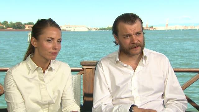 INTERVIEW Tuva Novotny Pilou Asbaek on refugees in Europe at 'A War' Interviews 72nd Venice Film Festival at Hotel Villa Laguna on September 06 2015...