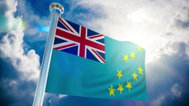 stockvideo's en b-roll-footage met 4k-tuvalu vlag   loop bare stock video - paalzitten