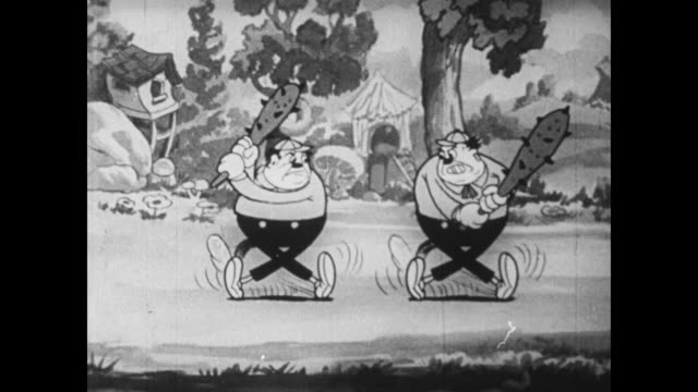 tweedledee and tweedledum angrily fight each other with billy clubs - fight stock videos & royalty-free footage