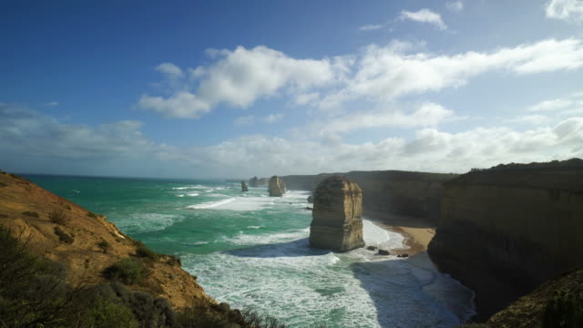 twelve apostles sea rocks along the great ocean road in australia - great ocean road stock videos & royalty-free footage