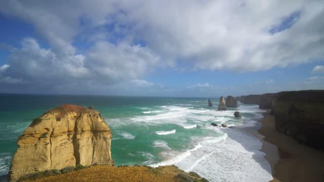twelve apostles sea rocks along the great ocean road in australia - dramatic sky stock videos & royalty-free footage
