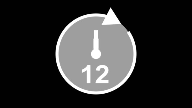 twelve hour, stopwatch animated icon clock with moving arrows simple animation. time counter symbol - clock face stock videos & royalty-free footage