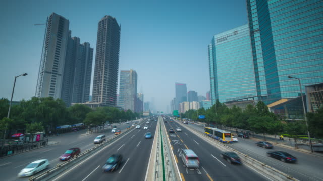 twelve lane highway, beijing, china - pechino video stock e b–roll