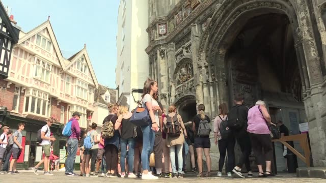 stockvideo's en b-roll-footage met twelve months after british voters rejected the eu university cities such as canterbury are on the frontlines of a political realignment shaped in... - kent engeland